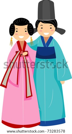Illustration of a Newlywed Korean Couple