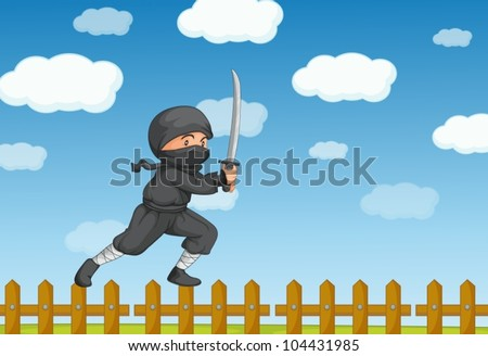 Illustration of a ninja on a fence - stock vector