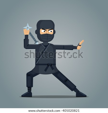 Illustration of a ninja with a star - stock vector