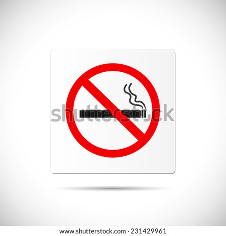 Illustration of a No Smoking sign isolated on a white background. - stock vector
