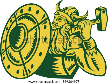 Illustration of a norseman viking warrior raider barbarian wearing horned helmet with beard holding hammer and shield viewed from side set on isolated white background done in retro woodcut style.  - stock vector