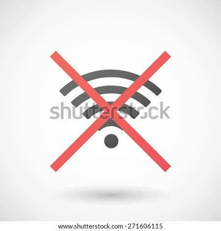 Illustration of a not allowed icon with a radio signal sign - stock vector
