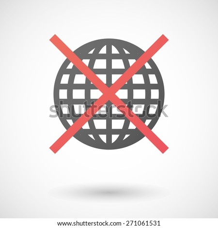 Illustration of a not allowed icon with a world globe - stock vector