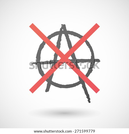 Illustration of a not allowed icon with an anarchy sign - stock vector
