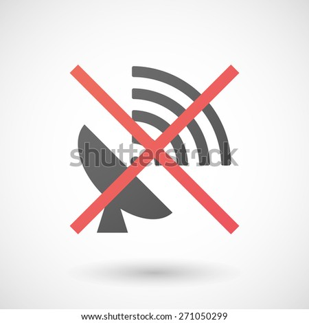 Illustration of a not allowed icon with an antenna - stock vector