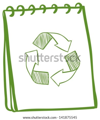 Illustration of a notebook showing the recycle signs on a white background - stock vector