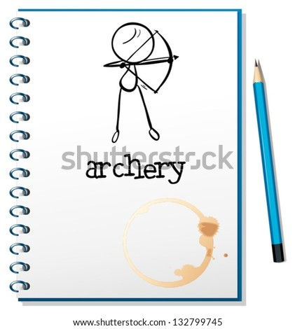 Illustration of a notebook with an archery design on a white background - stock vector