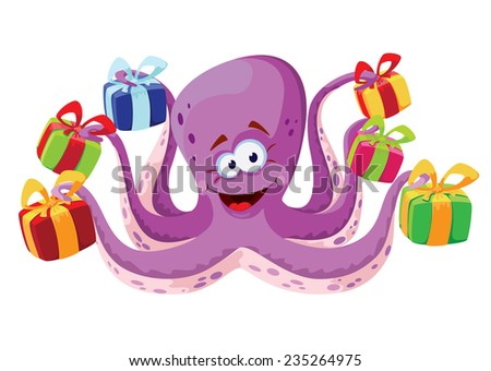 illustration of a octopus and gifts boxes - stock vector
