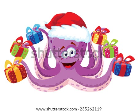 illustration of a octopus with gifts - stock vector