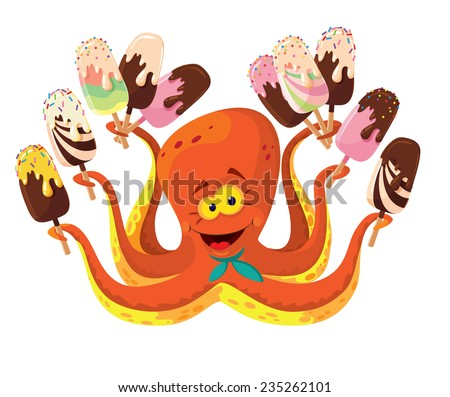illustration of a octopus with ice cream - stock vector