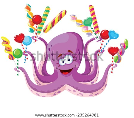 illustration of a octopus with lollipops