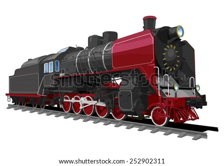 illustration of a old steam locomotive isolated on white background. Solid fill only, no gradients. - stock vector