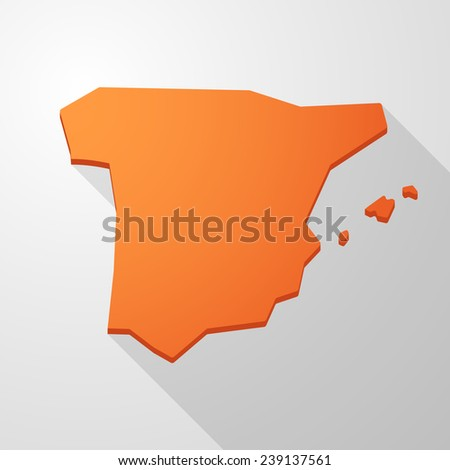 Illustration of a orange Spain map icon  - stock vector