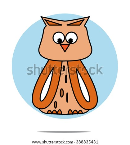 Illustration of a owl with blue circle background - stock vector