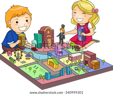 Illustration of a Pair of Cute Kids Playing with a Miniature City - stock vector
