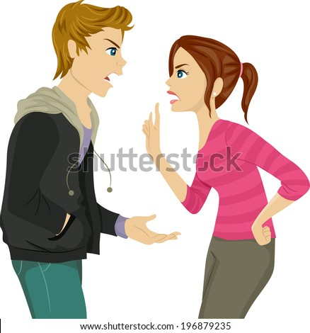 Illustration of a Pair of Teen Siblings Arguing