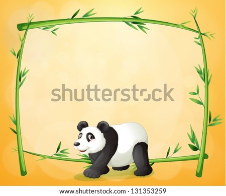 Illustration of a panda and the empty green frame on an orange background - stock vector