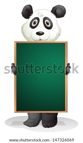 Illustration of a panda at the back of an empty blackboard on a white background  - stock vector