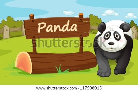 illustration of a panda in a beautiful nature - stock vector
