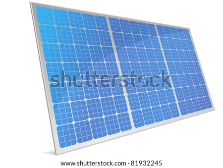 illustration of a panel with solar cells and reflection, eps8 vector - stock vector