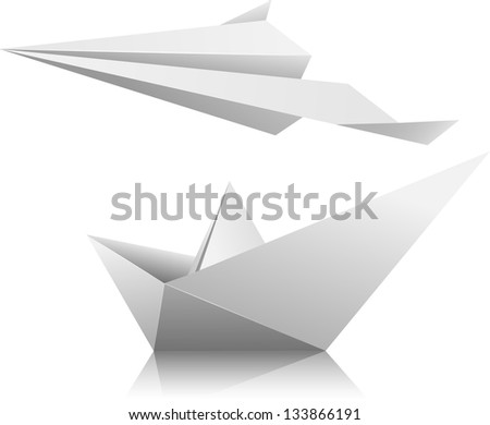 Illustration of a paper airplane and ship. Vector.
