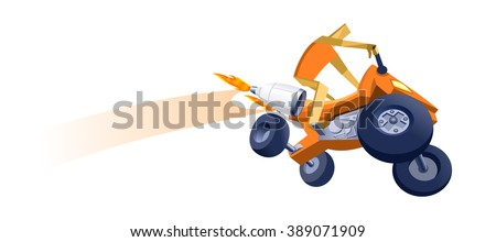 Illustration of a paper man riding all-terrain vehicle - stock vector