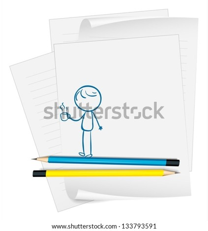 Illustration of a paper with a drawing of a boy holding a cup of coffee on a white background