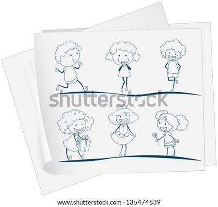 Illustration of a paper with a drawing of a girl in different attires on a white background