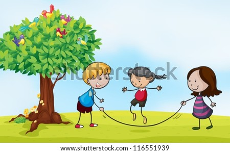 Illustration of a park scene with kids skipping - stock vector