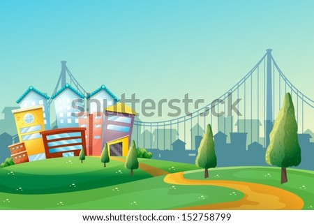 Illustration of a pathway going to the colorful buildings in the city - stock vector