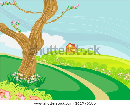 Illustration of a peaceful village in spring  - stock vector