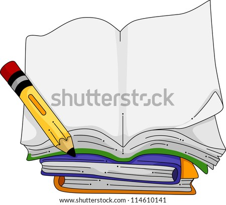 Illustration of a Pencil Sitting Beside a Blank Notebook