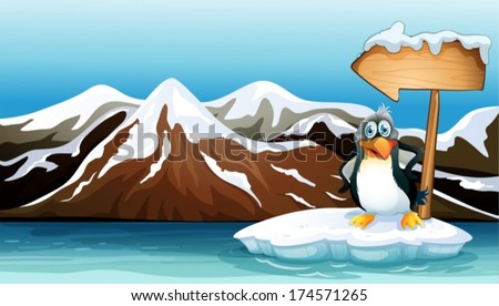 Illustration of a penguin above the iceberg with an arrowboard