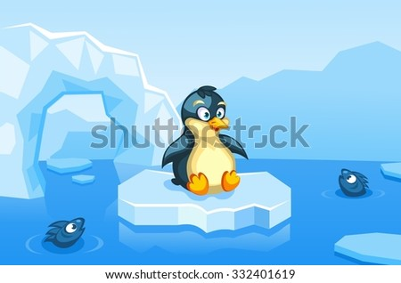 Illustration of a penguin on an arctic vector background with ice floes, icebergs, water and fishes - stock vector