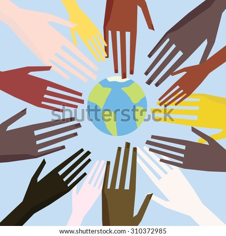Illustration of a people's hands with different skin color together. Race equality, tolerance illustration. - stock vector