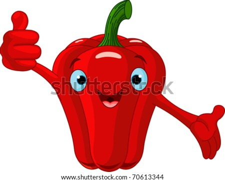 Illustration of a Pepper Character  giving thumbs up - stock vector