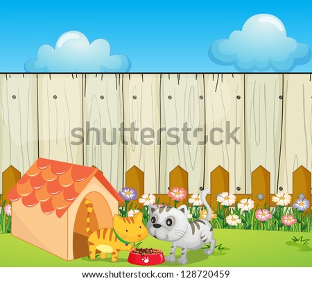 Illustration of a pethouse inside the fence