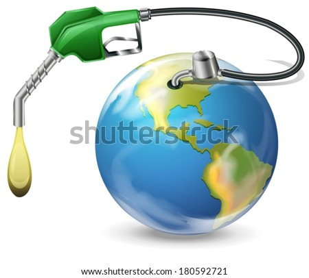 Illustration of a petrol pump and a globe on a white background - stock vector