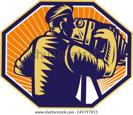 Illustration of a photographer shooting with vintage bellows camera done in retro woodcut style.