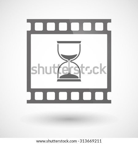 Illustration of a photographic film icon with a sand clock - stock vector