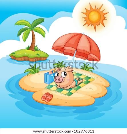 illustration of a pig sun baking - stock vector
