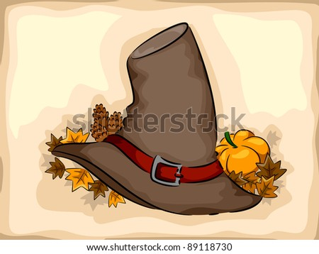 Illustration of a Pilgrim Hat Surrounded by Autumn Leaves - stock vector