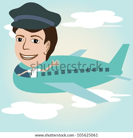 illustration of a pilot on an airplane above sky. - stock vector
