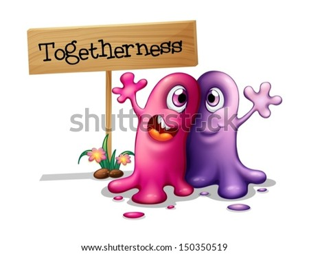 Illustration of a pink and a purple monster beside a signboard on a white background - stock vector
