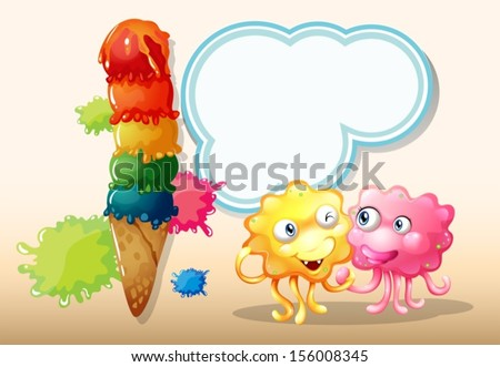 Illustration of a pink and an orange monster beside the giant icecream - stock vector