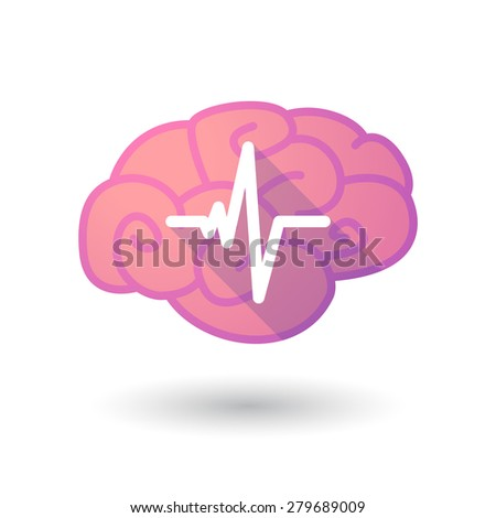 Illustration of a pink brain with a heart beat sign - stock vector