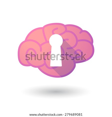 Illustration of a pink brain with a key hole - stock vector
