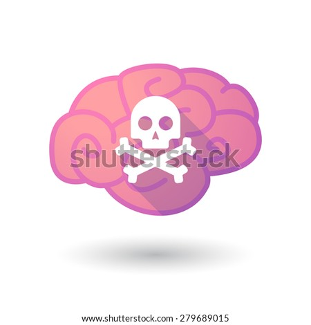 Illustration of a pink brain with a skull - stock vector