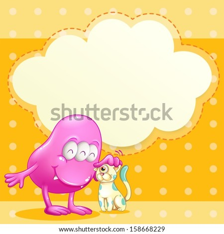 Illustration of a pink monster and a cat with an empty cloud template - stock vector