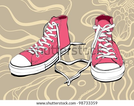 Illustration Of A Pink Sneakers With Lovely Heart On An Abstract Background - stock vector
